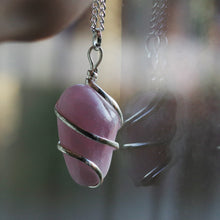 Load image into Gallery viewer, Rose quartz wire wrapped pendant
