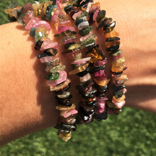 Load image into Gallery viewer, Watermelon Tourmaline healing crystals (chip bracelet)