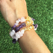 Load image into Gallery viewer, Amethyst - Citrine - Rose quartz stone chip bracelet