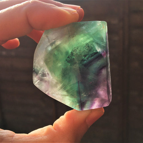 Fluorite polished faceted slice I.