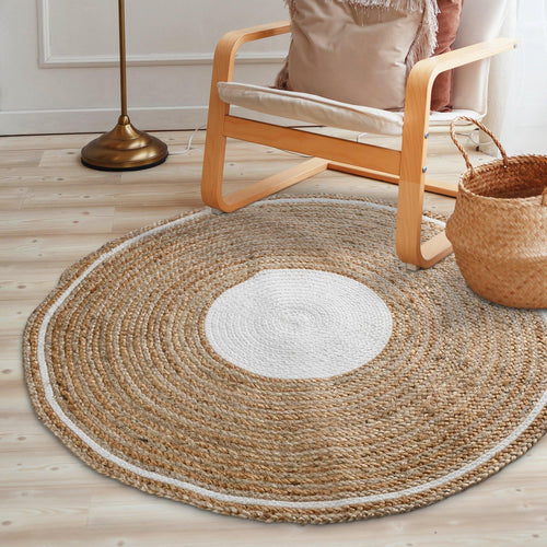 Sashaa Jute Round Braided Rug with White border - Sashaaworld