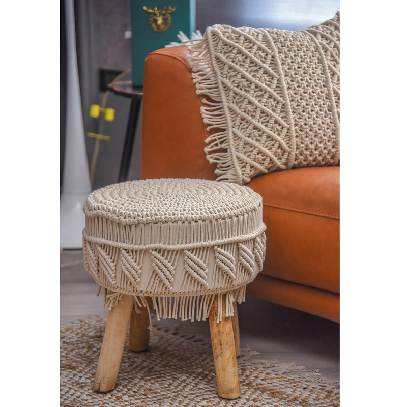 Natural Macramé Stool - Sashaaworld