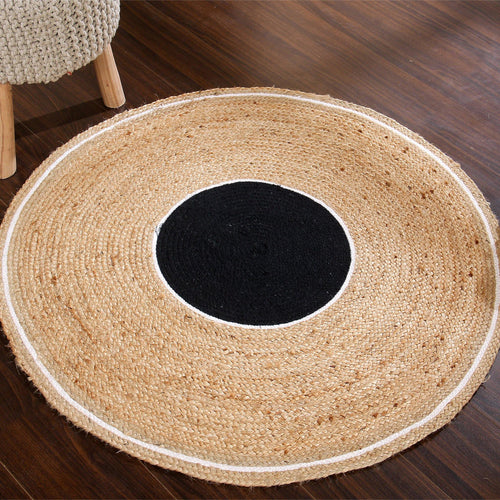 Sashaa Braided Jute Rug (Black circle and white border) - Sashaaworld
