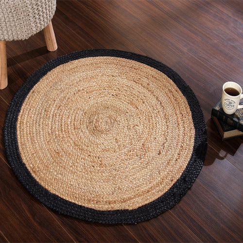 Sashaa Braided Jute Rug with Black border. - Sashaaworld