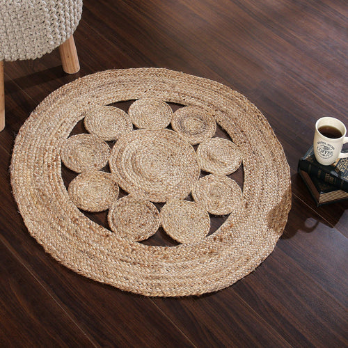 Sashaa Braided Jute Rug with circle pattern - Sashaaworld