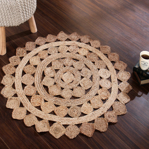 Sashaa Braided Jute Rug with diamond pattern - Sashaaworld