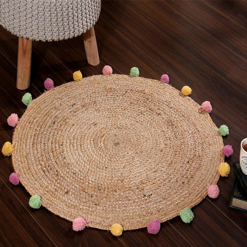 Round Jute Rug with Multi Colored Pompoms - Sashaaworld