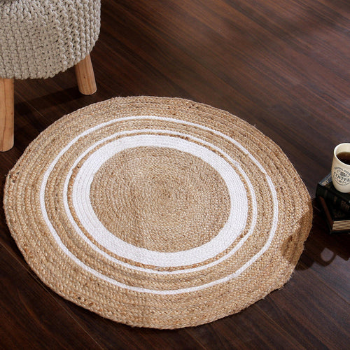 Sashaa Braided Rug with White Round Pattern - Sashaaworld