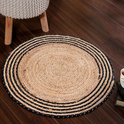 Sashaa Round Jute Rug with black border - Sashaaworld