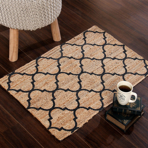 Sashaa Braided Jute Rug With Printing - Sashaaworld