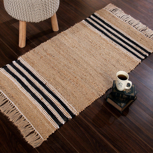 Handwoven jute rug with black and white stripes  and tassels at the end. - Sashaaworld