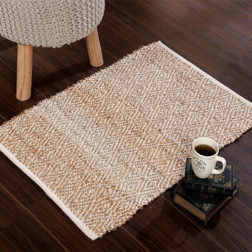 Handwoven jute rug  with diamond design weave construction. - Sashaaworld