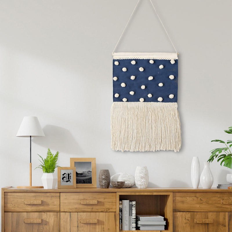 Hanging Handwoven Wall Decor(Blue & White)