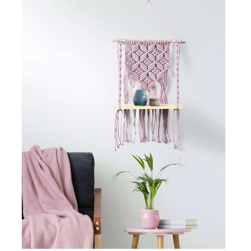 Macramé Hanging Shelf In Lavender