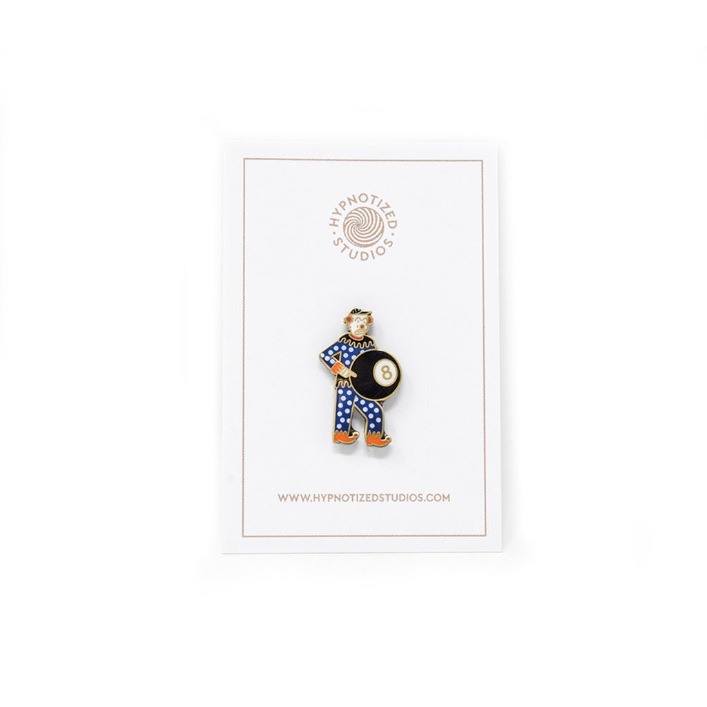 Hypnotized Studios 8Ball Clown Lapel Pin | WOLF'S HEAD