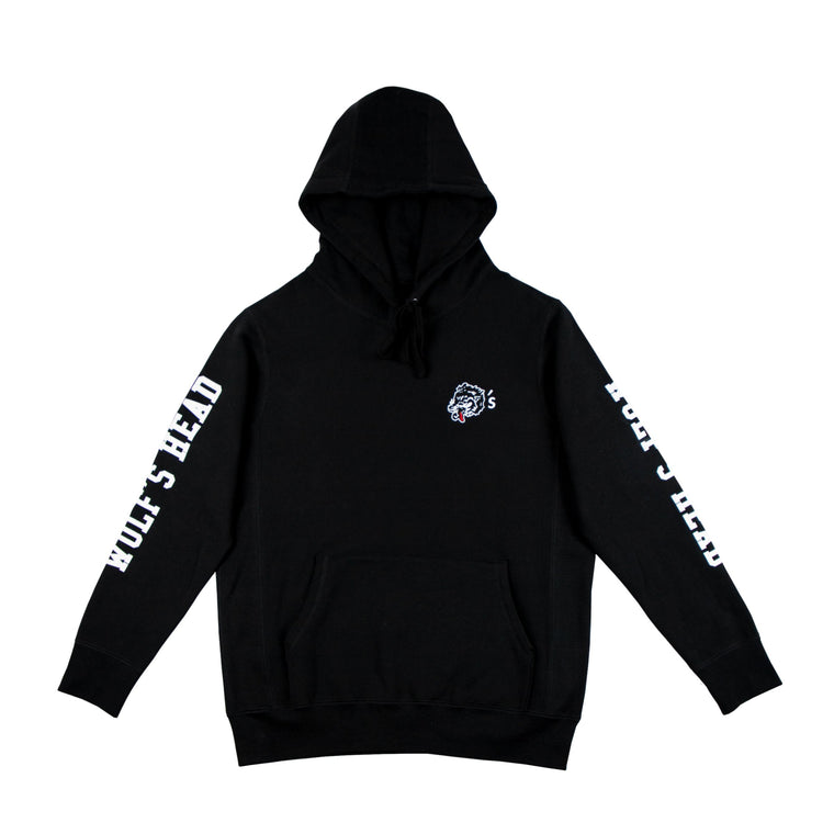 Wolf's Head Embroidered Club Hoodie -Black