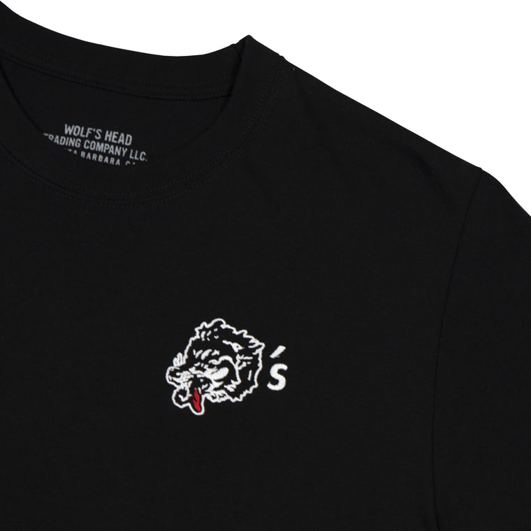 Wolf's Head Embroidered Club T-Shirt -Black