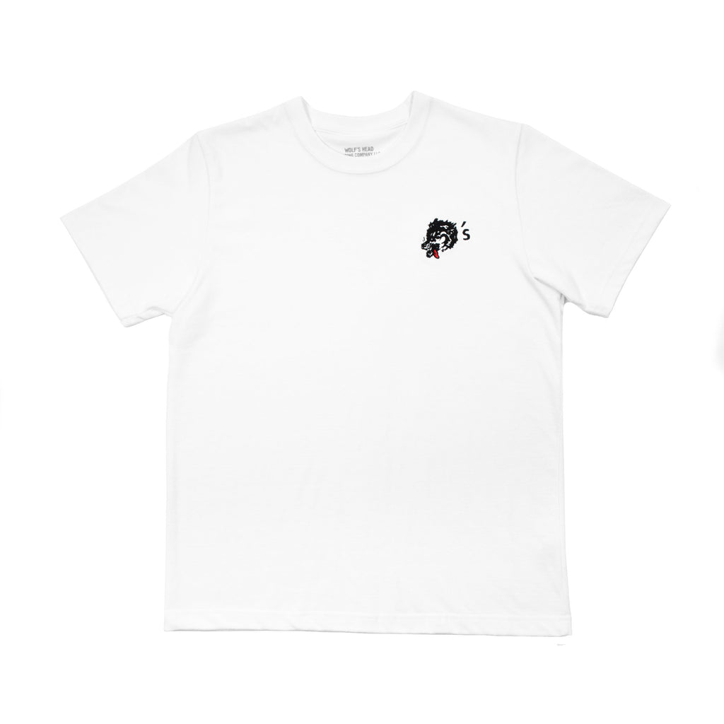 Wolf's Head Embroidered Club T-Shirt -White