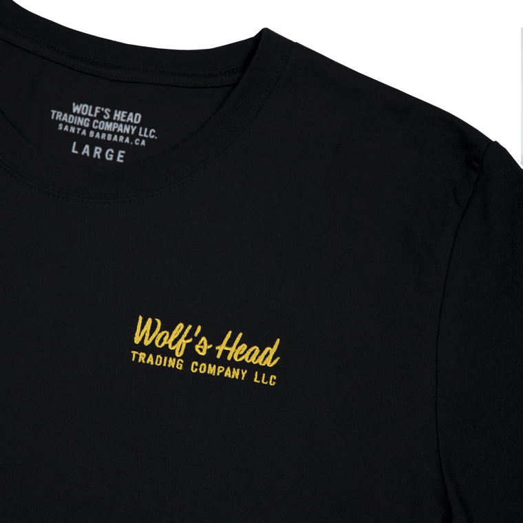 Wolf's Head Embroidered Ad Script T-Shirt -Black