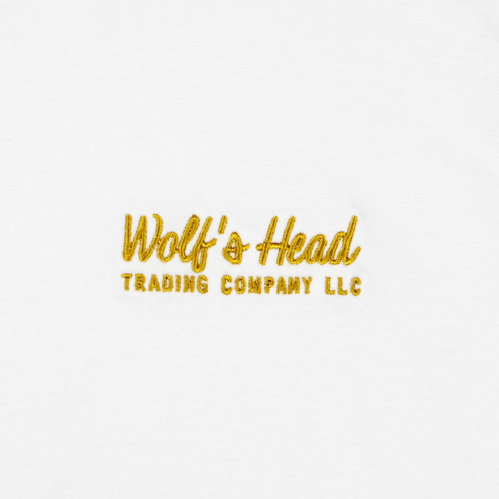 Wolf's Head Embroidered Ad Script T-Shirt -White
