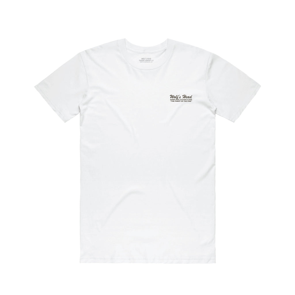Wolf's Head Barber T-Shirt -White