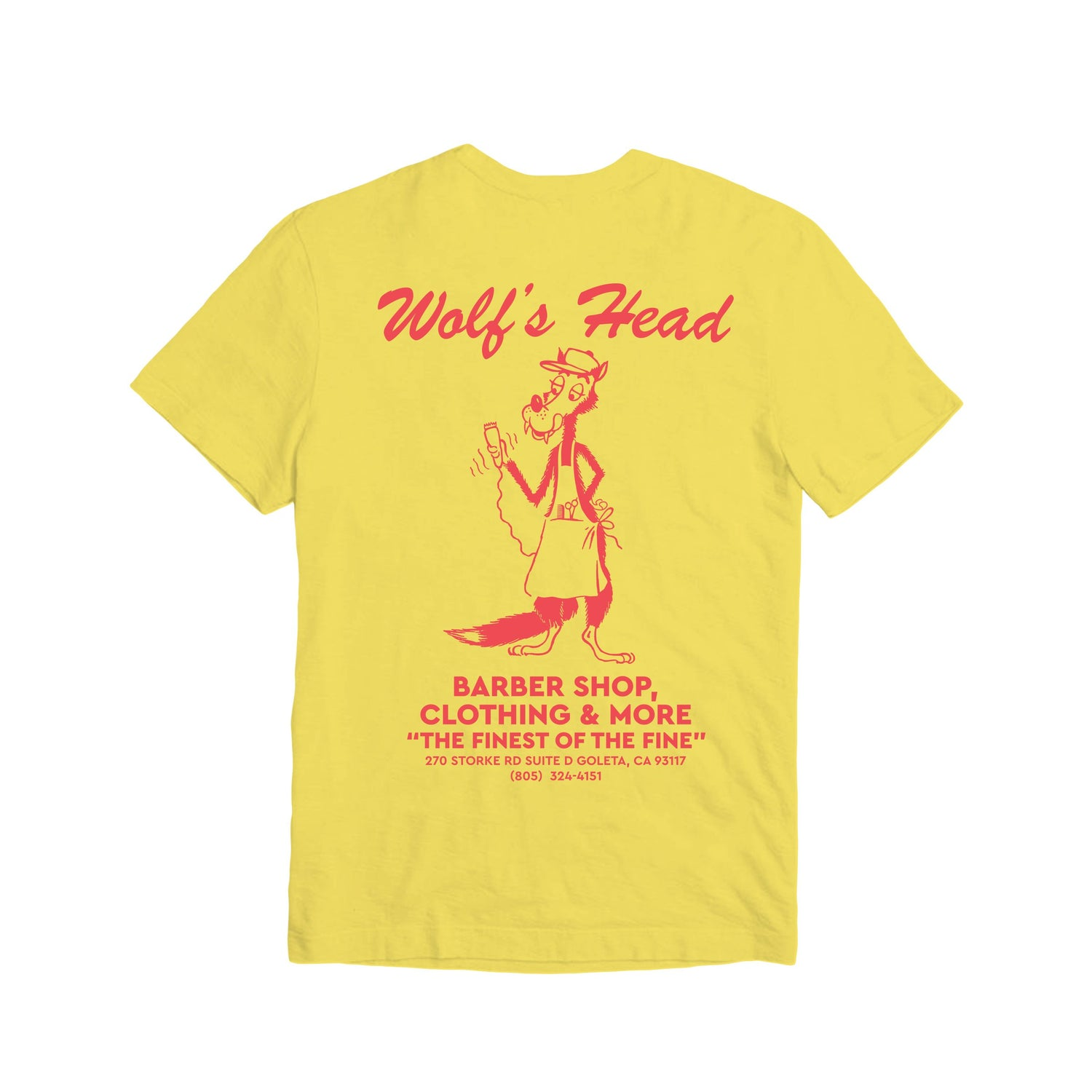 Wolf's Head Barber T-Shirt -Yellow