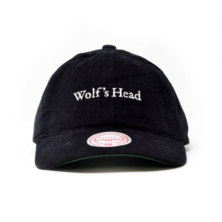Wolf's Head Pre-Curved Corduroy Baseball Hat by Mitchell & Ness