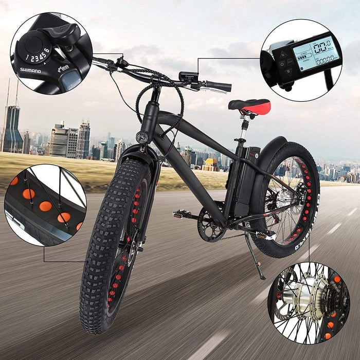 "NAKTO 26"" Cruiser 300W Electric Fat Tire Bike"