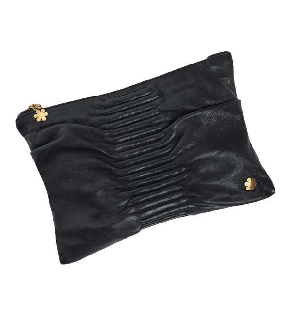 Black leather clutch with gold plated kalmus flower and cross over. Sort taske i lammeskind med forgyldt Kalmus blomst og cross over