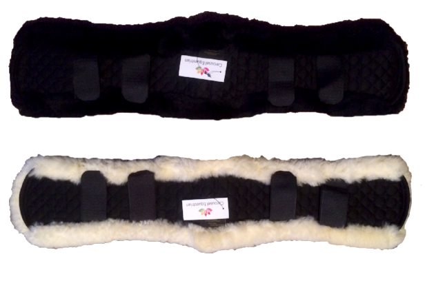 Contoured lambskin girth covers