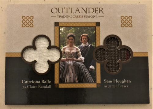 Outlander Season 1 Trading Card Dual Wardrobe DM6 : Sam Heughan and Caitriona Balfe