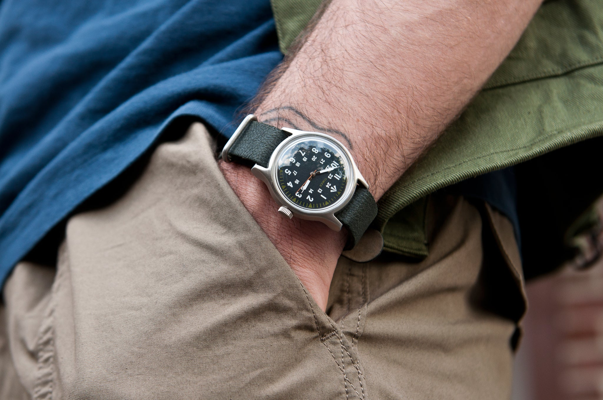 Nigel Cabourn x Timex SST Watch Army Green/Distressed Black at shoplostfound