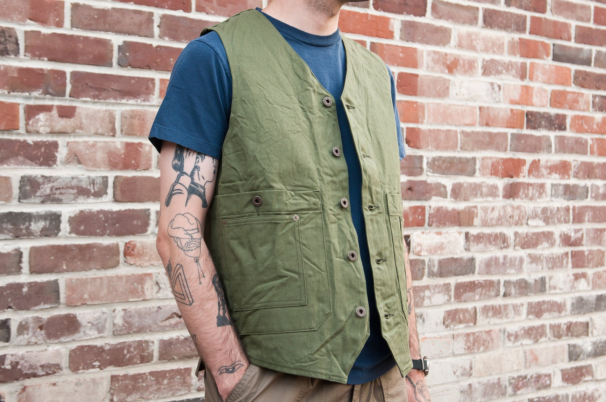 Nigel Cabourn Railman Vest Olive at shoplostfound