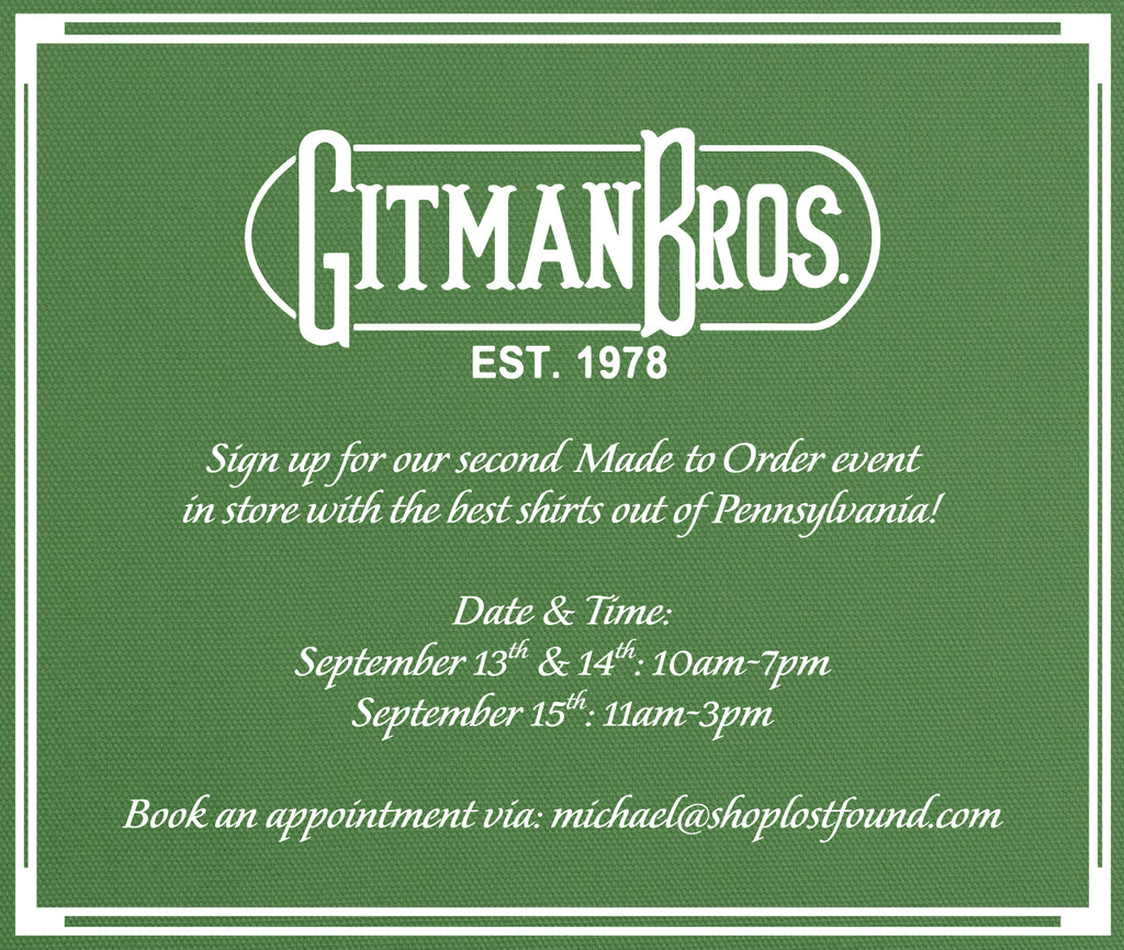 Gitman Made To Order Event 2019, shoplostfound