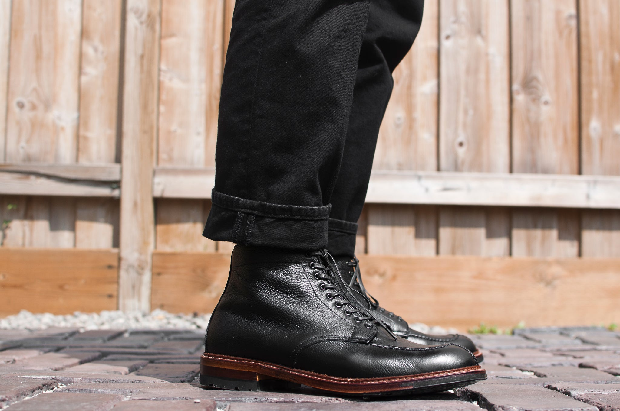 Black Regina Grain Tanker Boot Commando Sole at shoplostfound 5