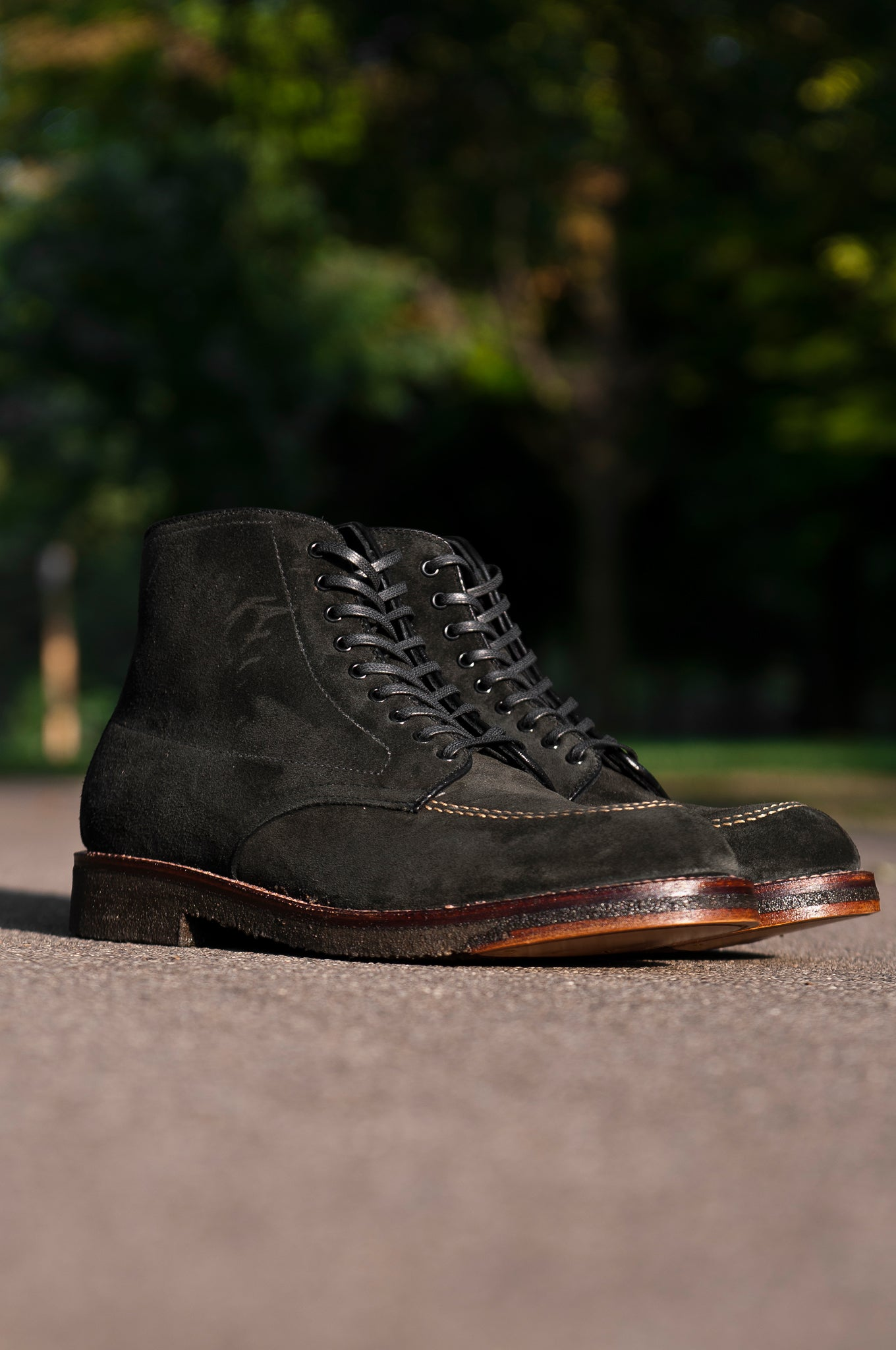 Black Suede Indy Boot Crepe Sole at shoplostfound 1