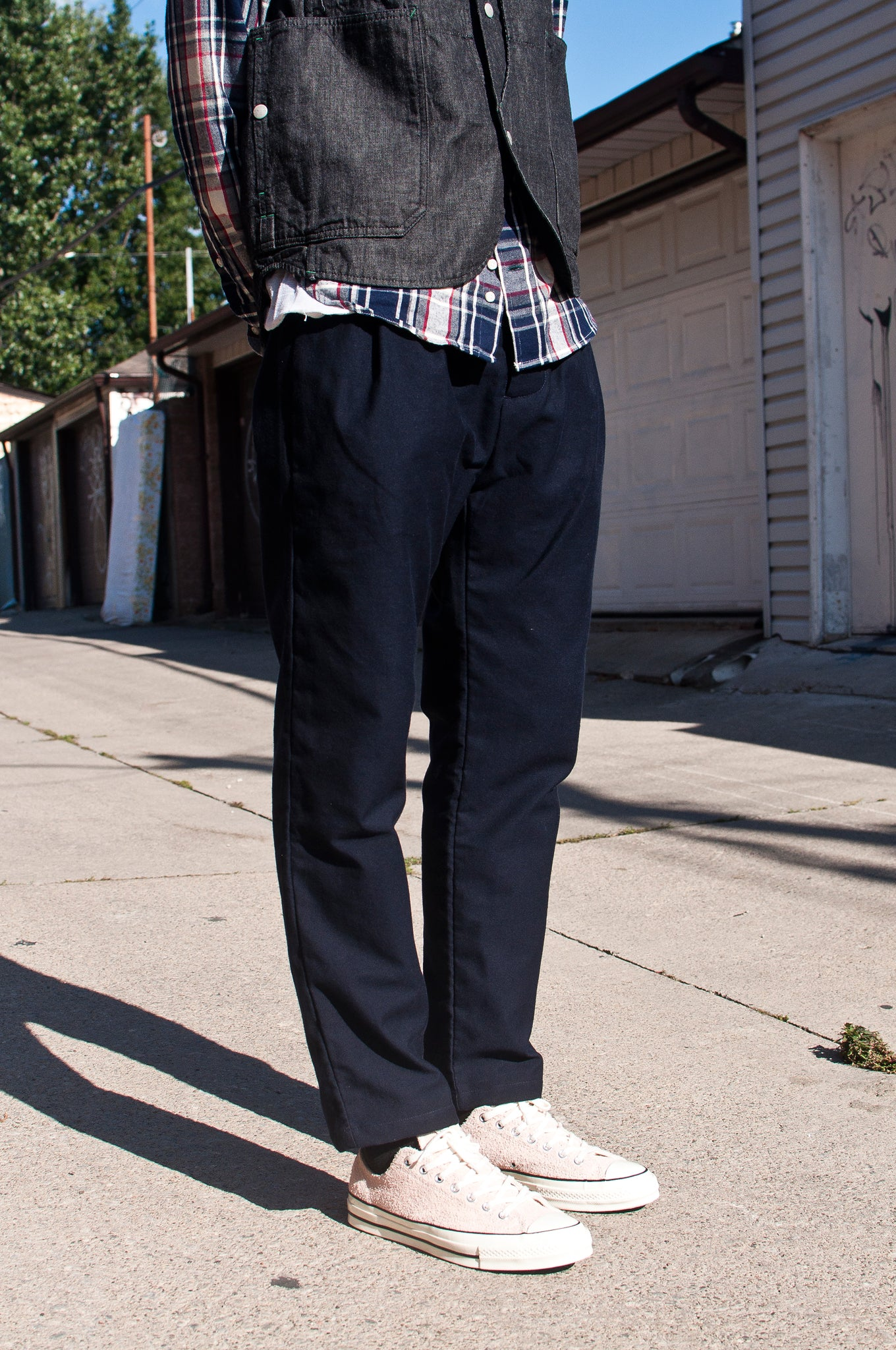 Arpenteur Service Pant Wool Cotton Serge Navy at shoplostfound