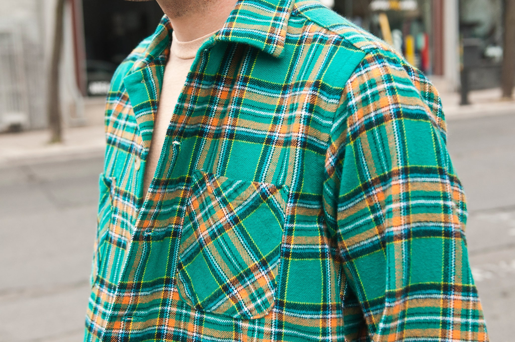 Battenwear 5 Pocket Canyon Shirt Green/Yellow Plaid at shoplostfound 3