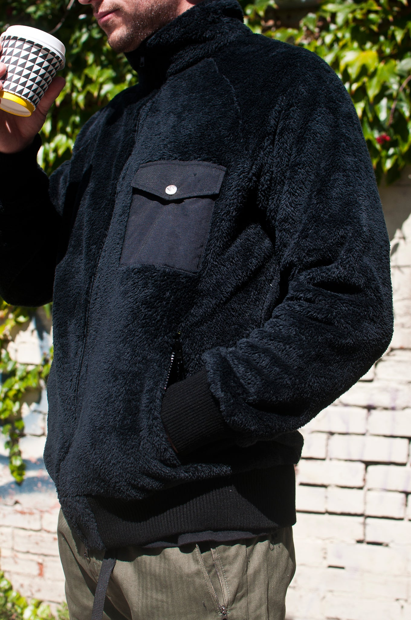 Battenwear Warm-Up Fleece Sweater Black at shoplostfound, 3