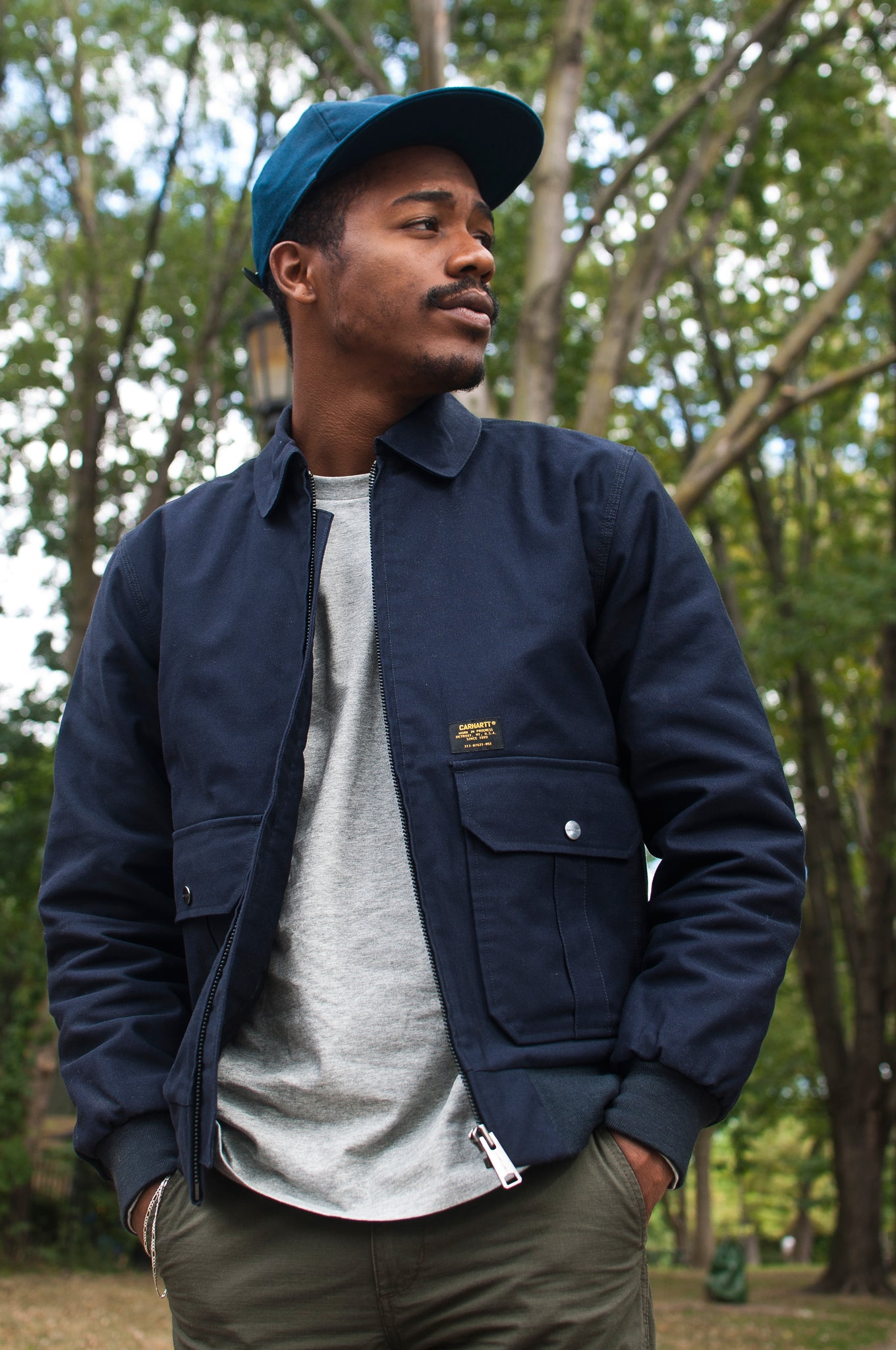 Carhartt W.I.P. Aviator Jacket Dark Navy at shoplostfound, 1