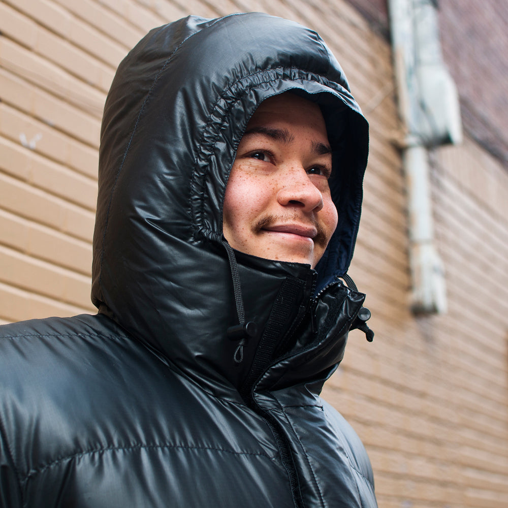 Crescent Down Works Integral Hooded Parka in Black Ripstop at shoplostfound, Preview