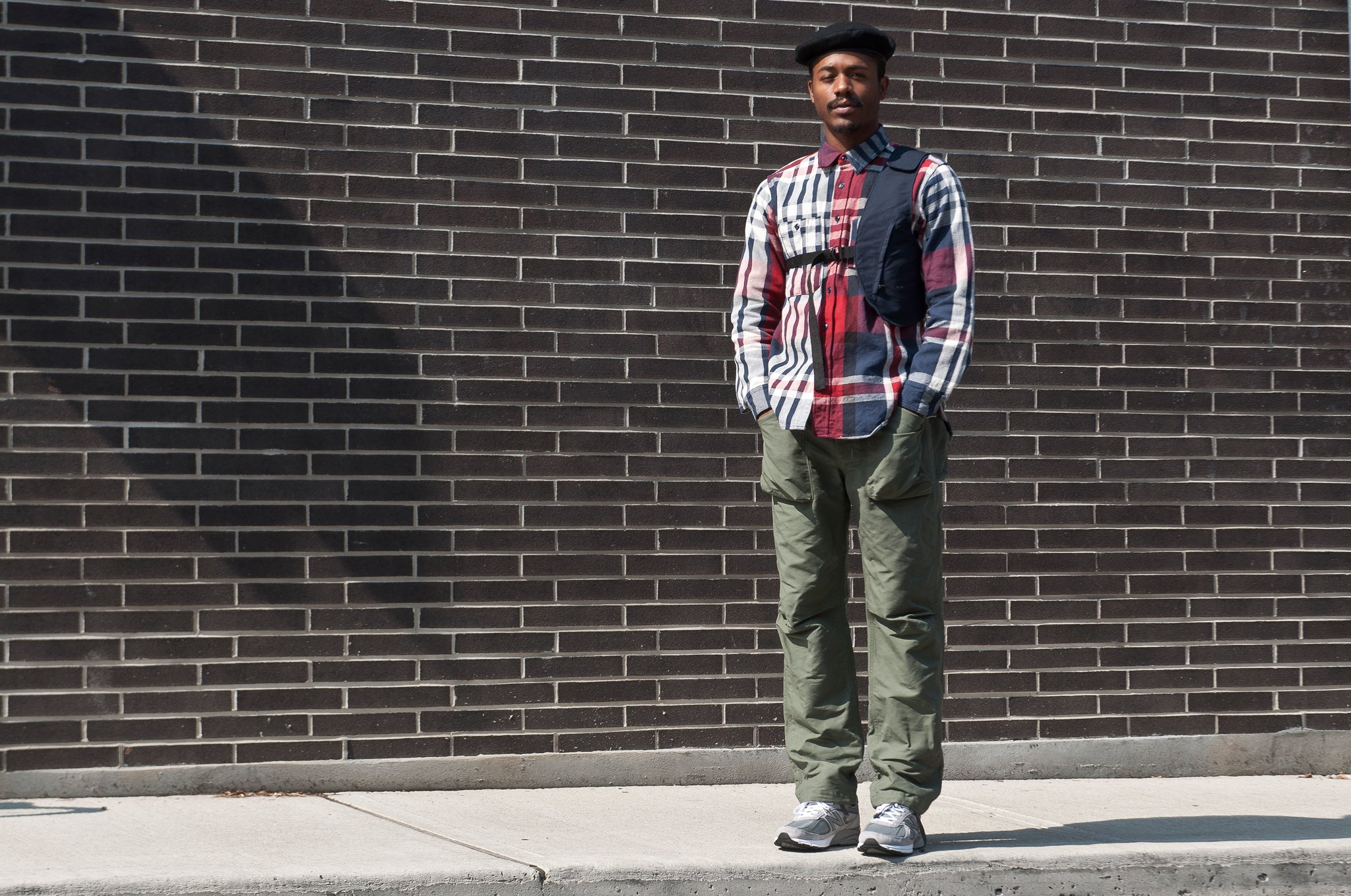 Engineered Garments Heavy Twill Plaid Work Shirt Navy/Red/White at shoplostfound 1