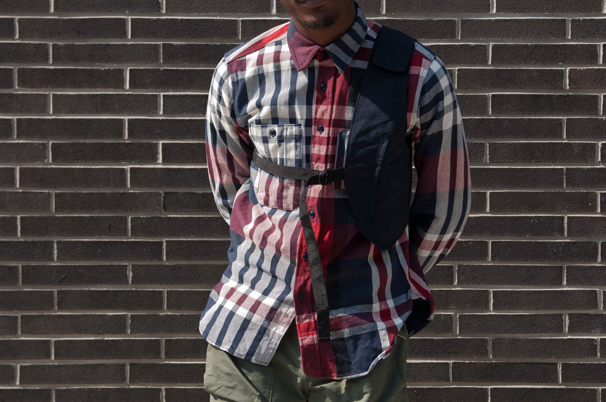 Engineered Garments Heavy Twill Plaid Work Shirt Navy/Red/White at shoplostfound 2