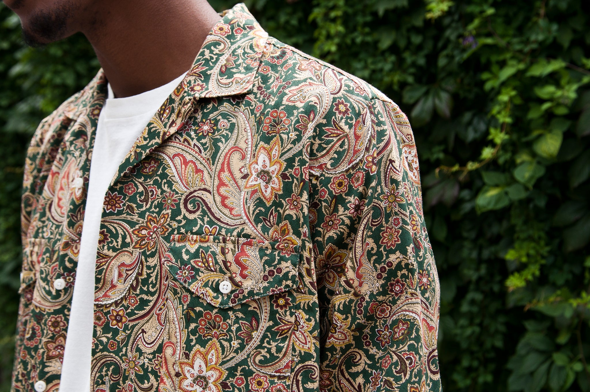 Gitman Vintage Bros. Green Paisley On Twill Camp Shirt at shoplostfound 2