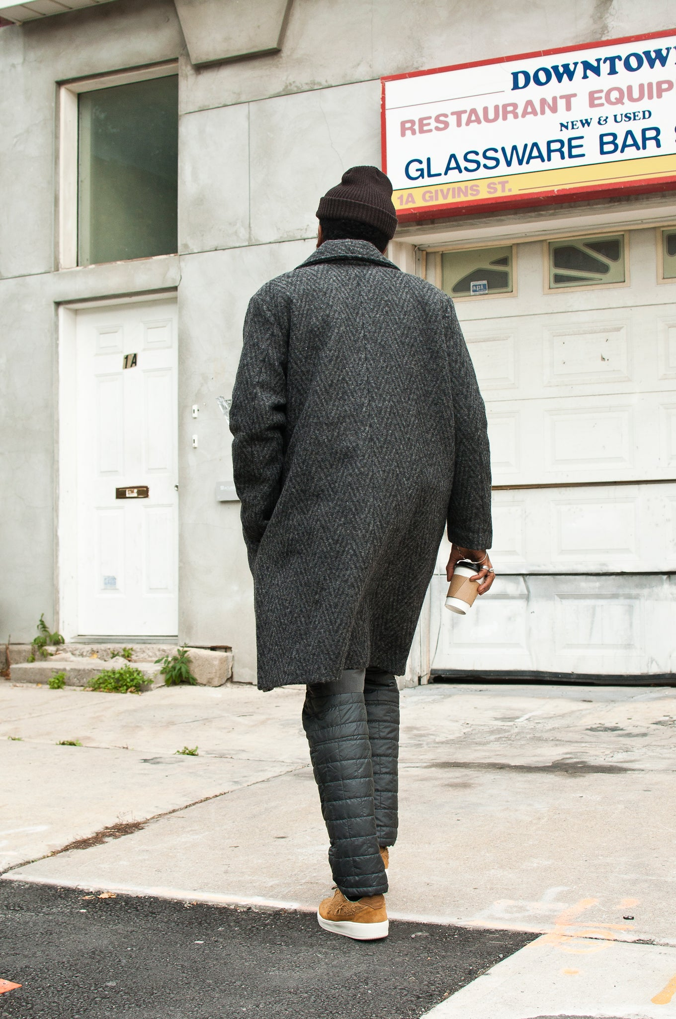 Levi's Made & Crafted Long Herringbone Overcoat at shoplostfound 1