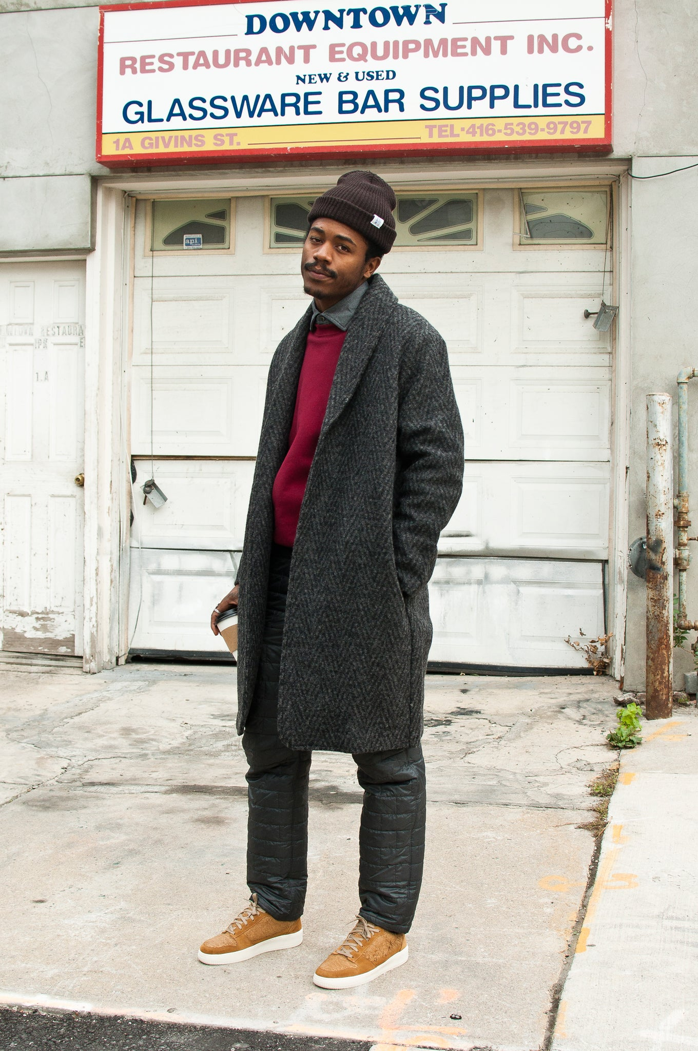 Levi's Made & Crafted Long Herringbone Overcoat at shoplostfound 2
