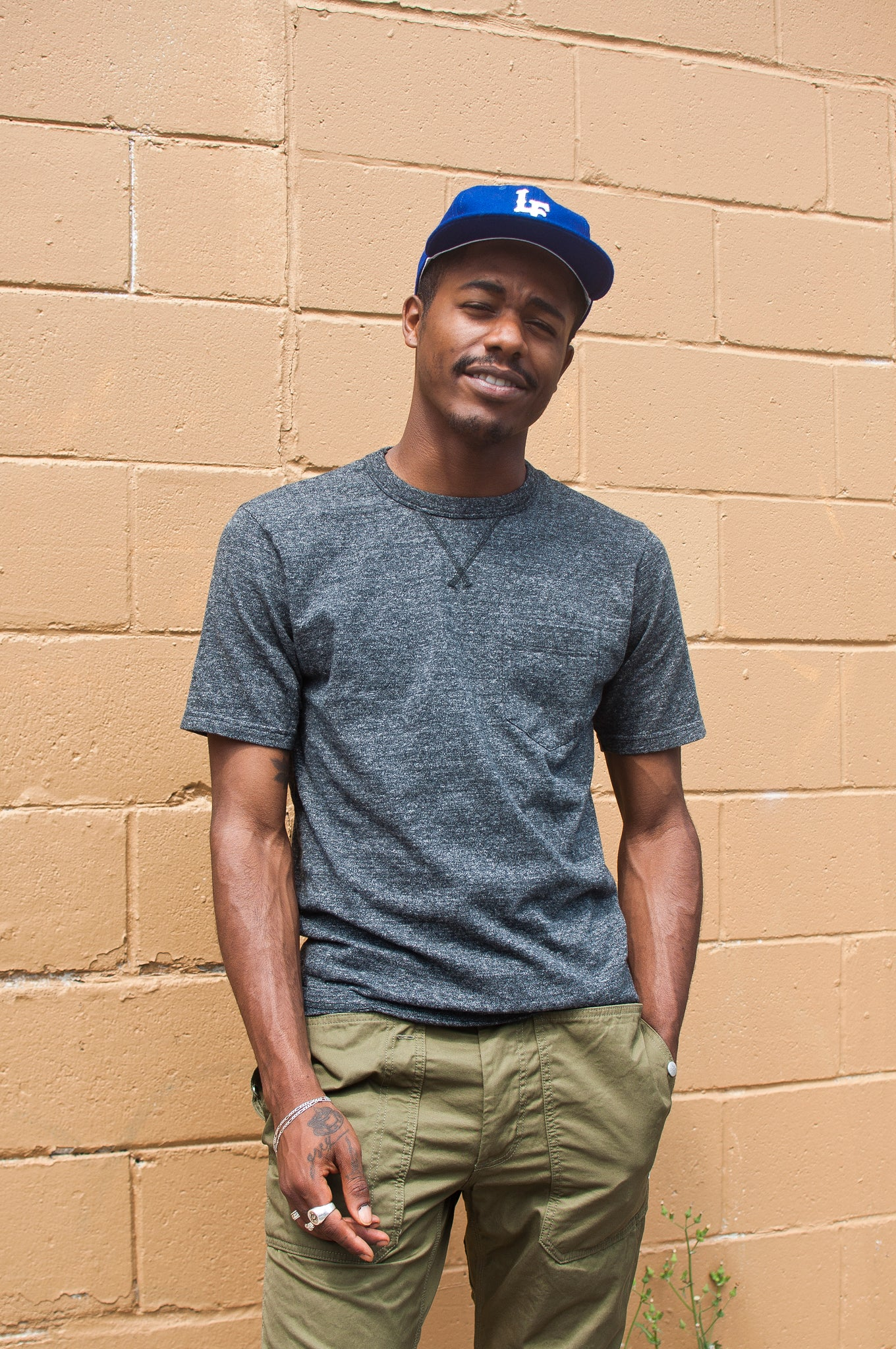 National Athletic Goods V Pocket T-Shirt Black Heather at shoplostfound