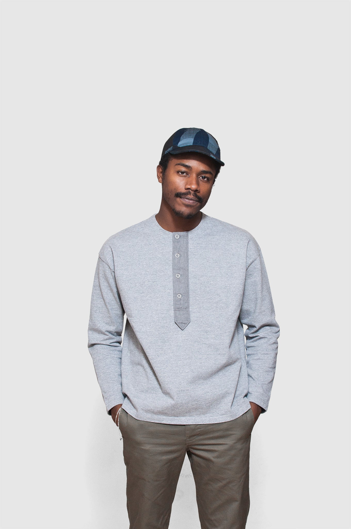 659283fbf7906f ... Nigel Cabourn Big Shirt Henley Neck Grey at shoplostfound 1 ...