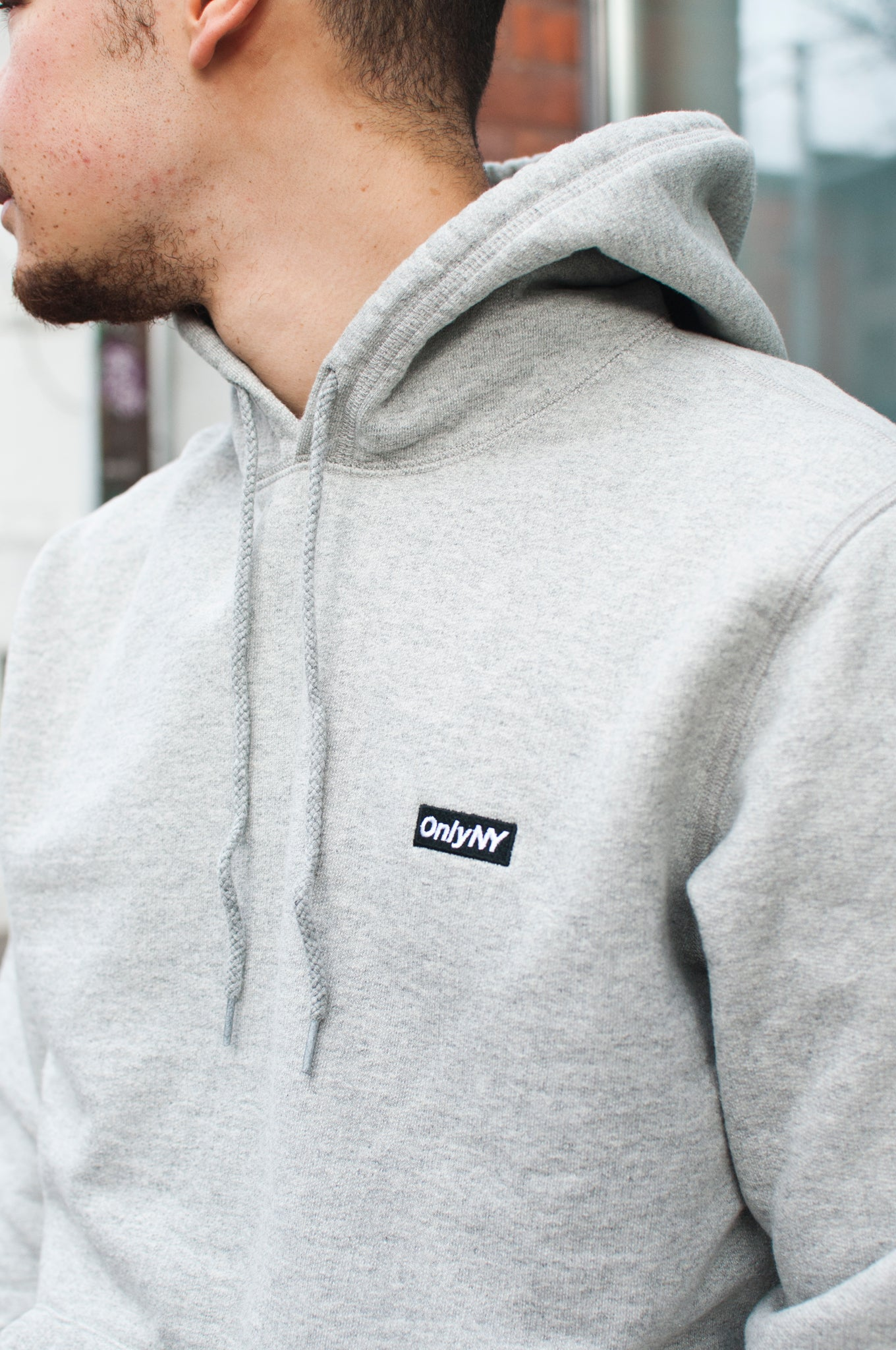Only NY Block Logo Hoody Grey at shoplostfound, 2