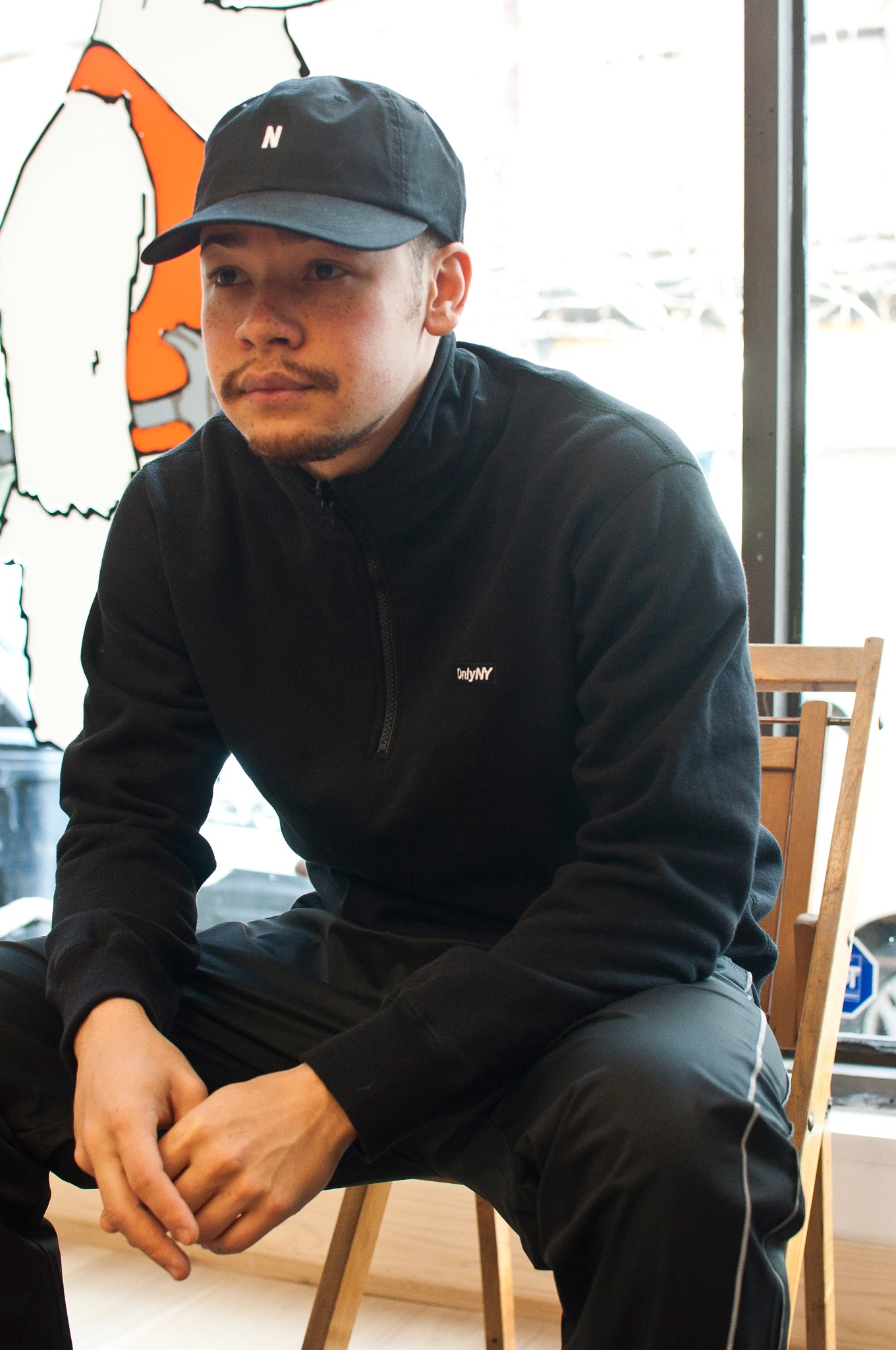 Only NY Logo Quarter Zip Pullover Black at shoplostfound
